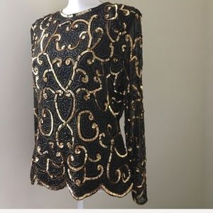 Vintage gold Sequined black silk blouse